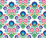 Seamless Polish, Slavic folk art floral pattern - wzory lowickie - 70424712