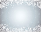 Fototapety grey background with  frame of snowflakes,  vector