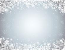 szare tło z ramki z płatki śniegu, wektor