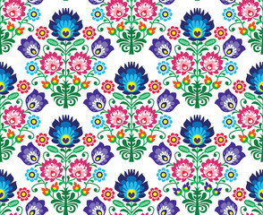 Seamless Polish, Slavic folk art floral pattern - wzory lowickie