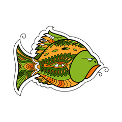 graphic illustration angry fish