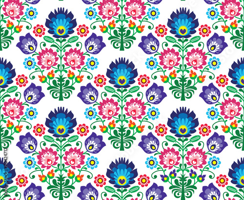 Seamless Polish, Slavic folk art floral pattern - wzory lowickie