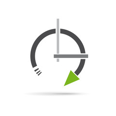 Vector sign abstract clock in rotation with arrow
