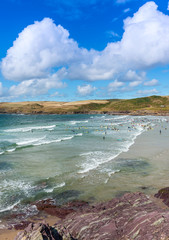 View over Polzeath Beach near Wadebridge Cornwall England