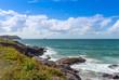 View from Polzeath Beach, near Wadebridge Cornwall England