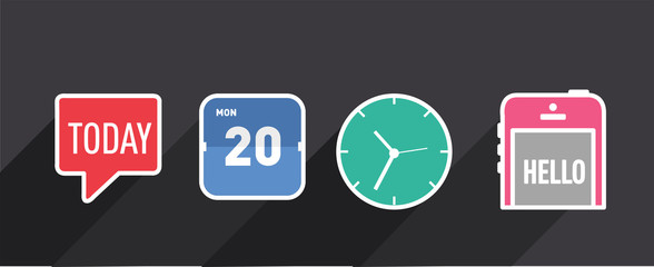 set flat design clock calendar time