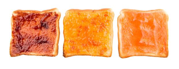 Mix fruit, blueberry, orange fruit jam spread on bread toast