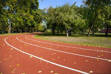 Empty treadmill in autumn park