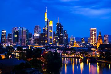 Frankfurt night and cloudy