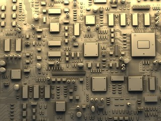 Fantasy circuit board or mainboard. Top view. 3d illustration