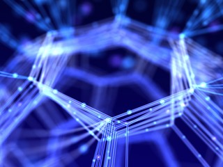 Closeup network. Abstract nanotechnology 3d illustration.