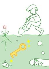 鍵を掘り出す人