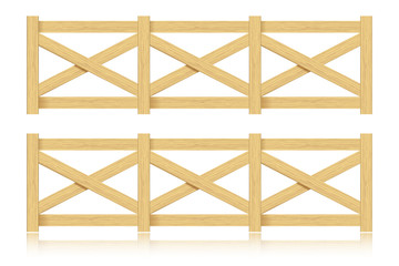 A set of wooden fence. Isolated. Vector illustration.