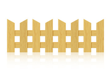 Wooden fence with reflection on white background. Vector illustr