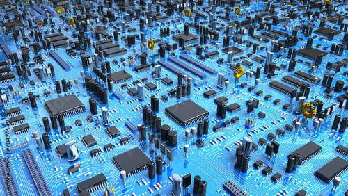 Fantasy circuit board.  3d illustration - 70426549