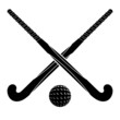 Two black silhouettes sticks for field hockey and ball on a whit - 70426748