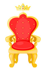 Bright red throne and the royal crown isolated on a white backgr