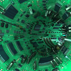 Tunnel made  of mainboards and electrical parts. 3d illustration