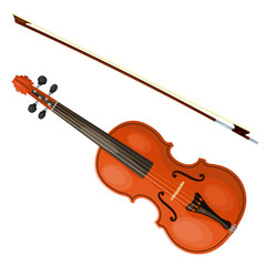 Violin and bow isolated on white background. Vector illustration