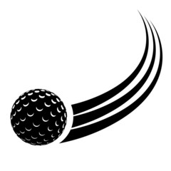 Black silhouette of the ball for field hockey with a trace. Vect
