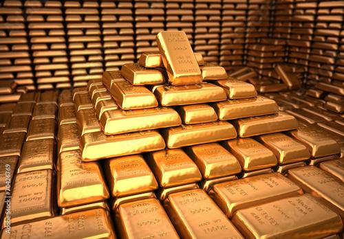 Fototapeta Bank vault filled with gold bullion. Finance illustration
