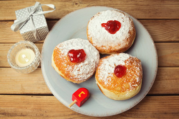 Donuts with jam for Jewish Holiday Hanukkah