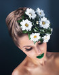 canvas print picture - Beauty portrait of young woman face with green fresh flowers