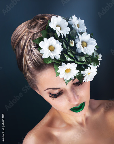 canvas print picture Beauty portrait of young woman face with green fresh flowers