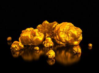 Gold nuggets. Finance illustration