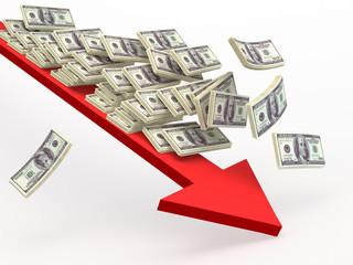 Paper money falling  along  arrow down.