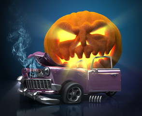 Giant monster pumpkin crushed a car. Halloween 3d illustration