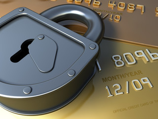 Gold credit card security. Safety Finance illustration