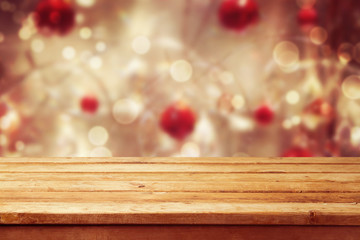 Christmas holiday background with empty wooden deck table