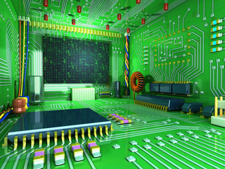 Fantasy digital room. Futuristic home inside.