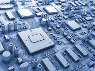 Fantasy circuit board. Technology 3d illustration