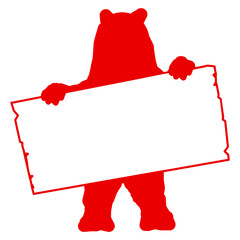 bs5 - BearSign - bear with blank signpost in red - long g1723