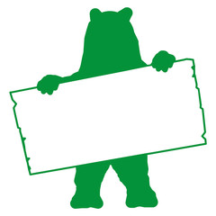 bs4 - BearSign - bear with blank signpost in green - long g1722
