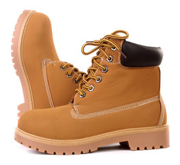 Beige brown working boots