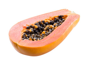 papaya isolated on white background with clipping path