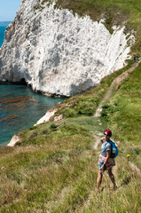 Female Hiker on South West Coastal Path, Dorset. UK