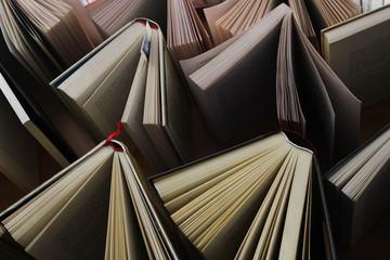 Books flying away