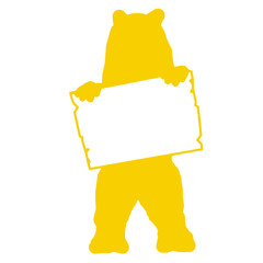 bs14 BearSign - bear with blank signpost in yellow - short g1732