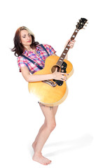 Girl playing guitar isolated on white background