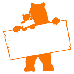 bs20 BearSign - bear with baby - blank signpost in orange g1738