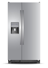 Refrigerator, white, background