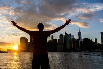 Successful Man in New York at Sunset
