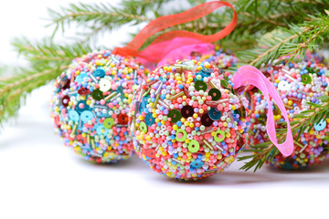 Christmas balls with green spruce