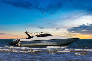 Motorboat on twilight time