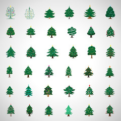 Christmas Tree Set - Isolated On Gray Background