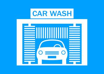 Car wash icon on blue background